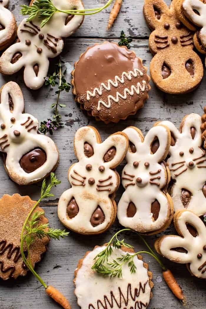 overhead photo of Milk Chocolate Stuffed Peanut Butter Bunny Cookies