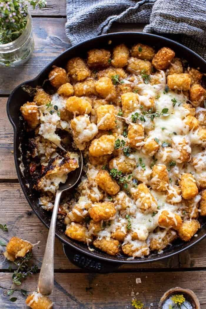 One Skillet French Onion Tater Tot Casserole | halfbakedharvest.com