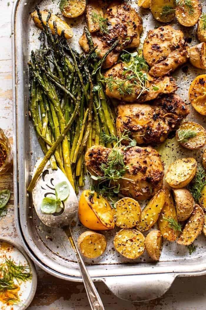 overhead photo of Sheet Pan Lemon Rosemary Dijon Chicken and Potatoes