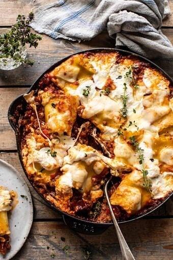 Simple Skillet Pesto Cheese Lasagna Roll Ups | halfbakedharvest.com