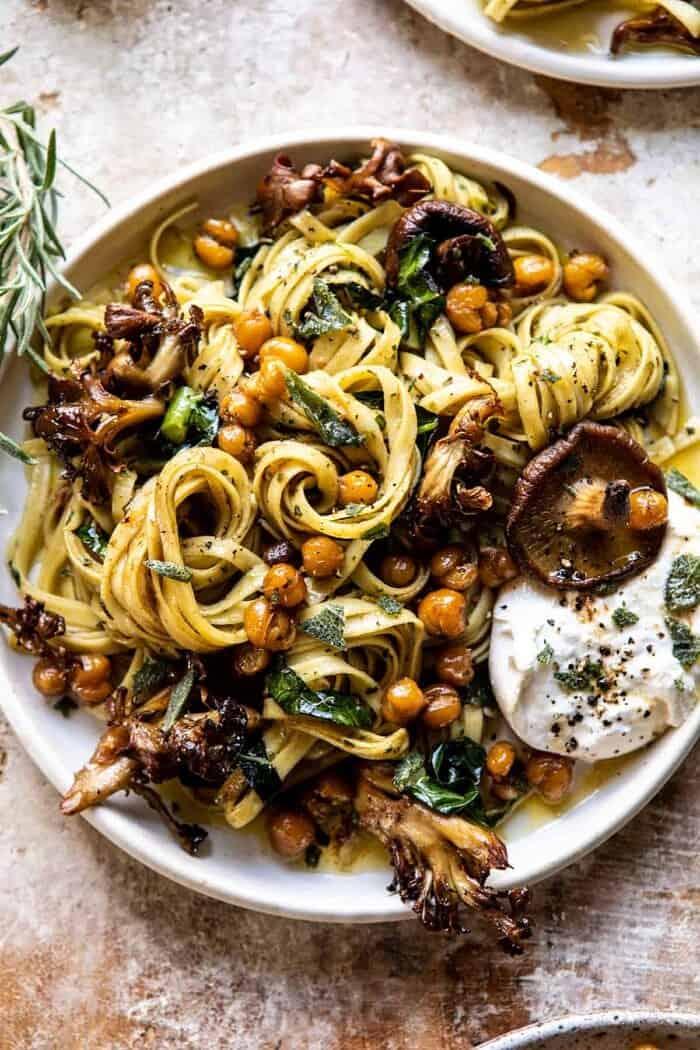 Slow Roasted Mushroom Pasta with Crisp Rosemary Chickpeas | halfbakedharvest.com