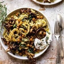 Slow Roasted Mushroom Pasta with Crisp Rosemary Chickpeas.