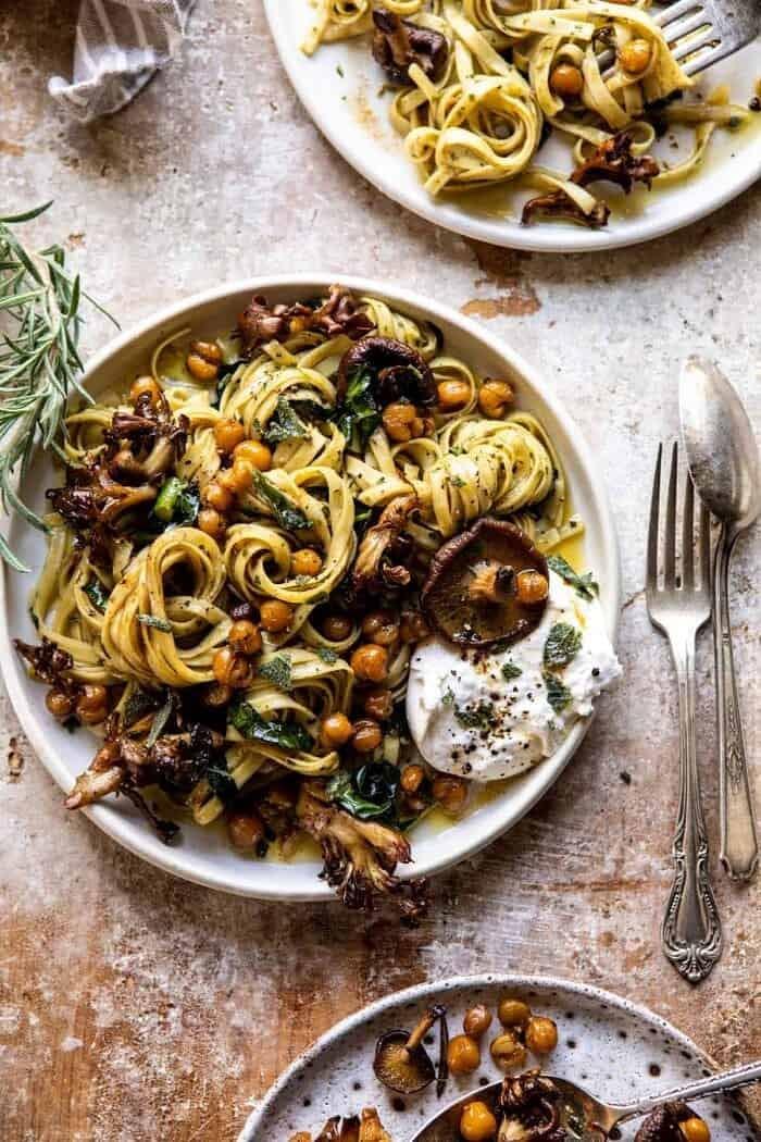 Slow Roasted Mushroom Pasta with Crisp Rosemary Chickpeas.