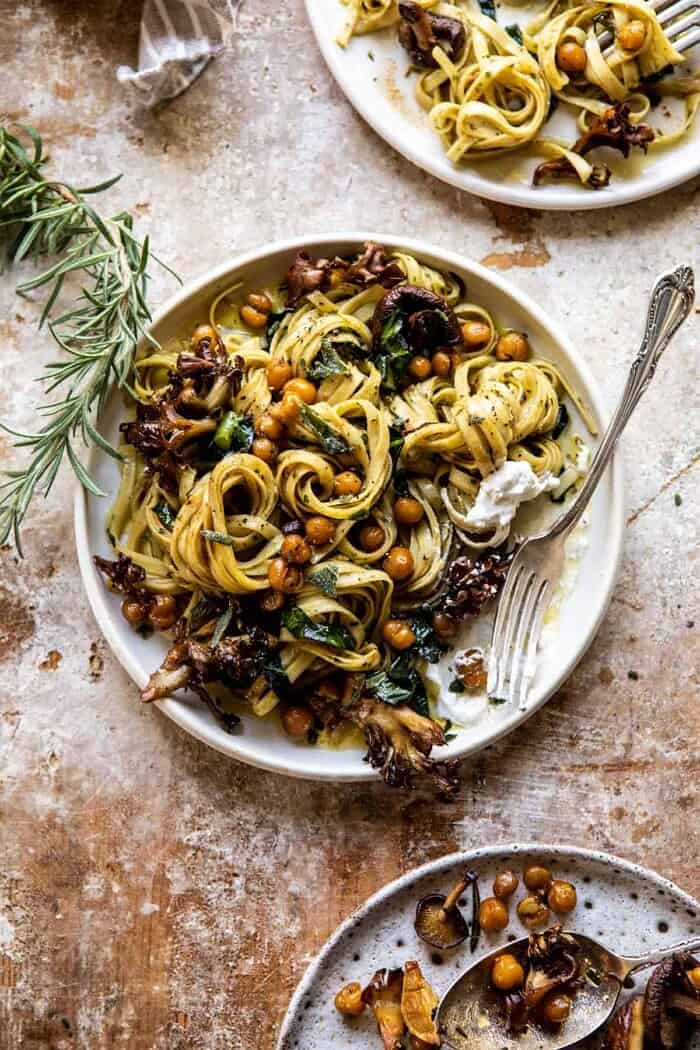 overhead photo of Slow Roasted Mushroom Pasta with Crisp Rosemary Chickpeas and for on plate