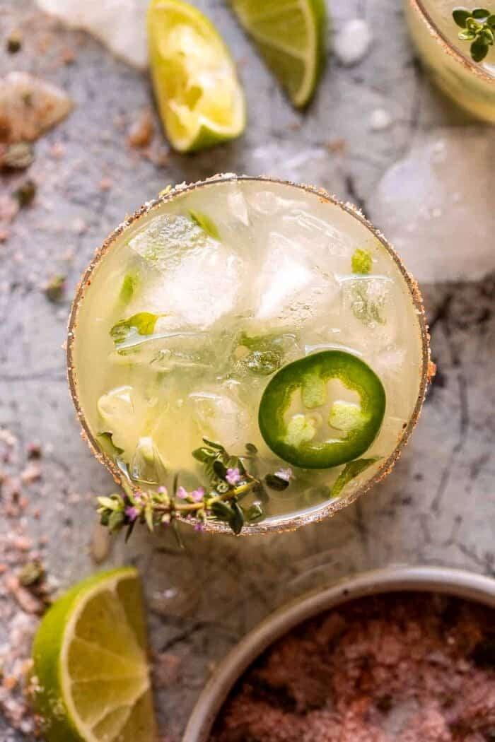 overhead photo of Spicy Cucumber Margarita