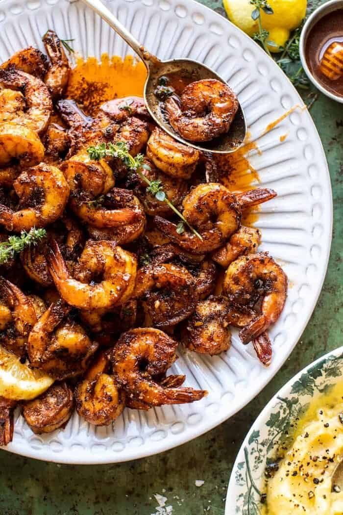overhead close up photo of 15 Minute Cajun Hot Honey Butter Shrimp on serving plate