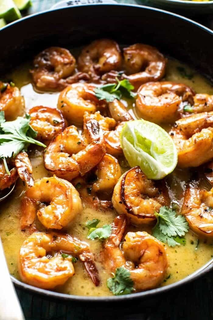 side angled close up photo of 20 Minute Honey Garlic Butter Shrimp in skillet