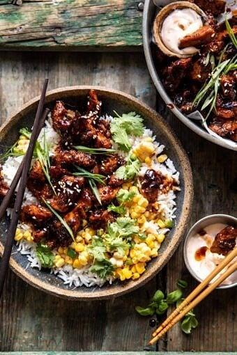 25 Minute Korean Bulgogi BBQ Chicken with Spicy Garlic Butter Corn | halfbakedharvest.com
