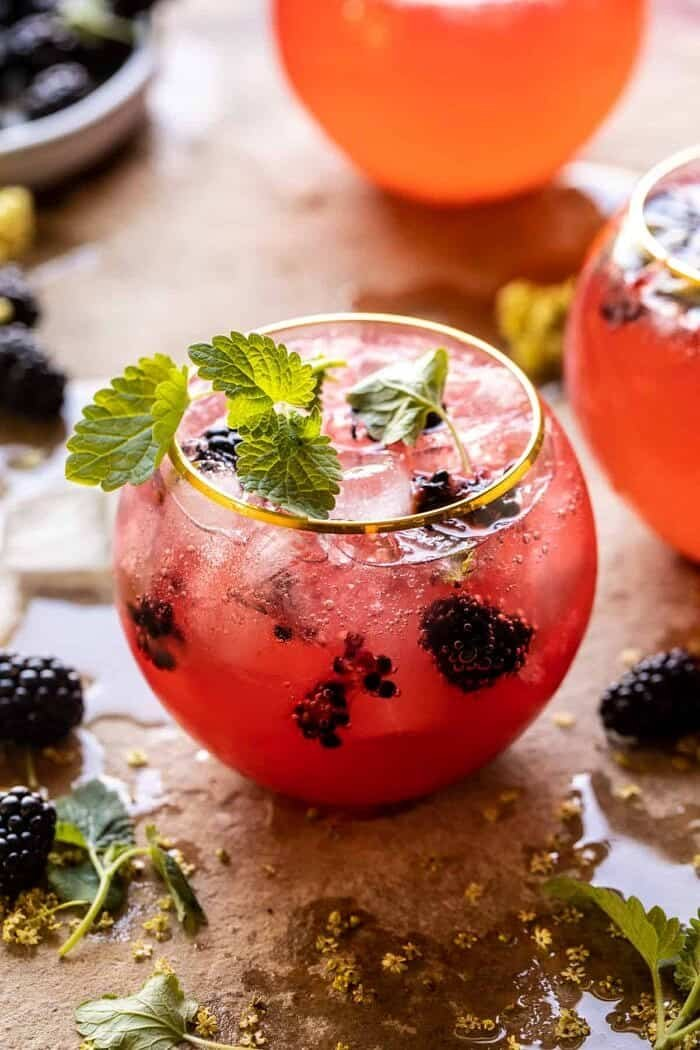 side angled photo of Blackberry Champagne Mule