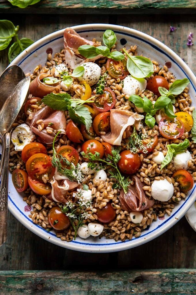 Caprese Prosciutto Farro Salad | halfbakedharvest.com