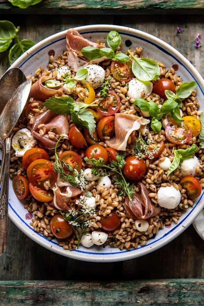 overhead close up photo of Caprese Prosciutto Farro Salad