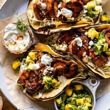 Chipotle BBQ Shrimp Tacos with Creamy Ranch Slaw.