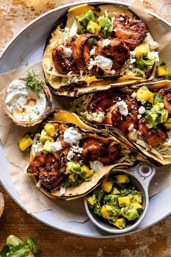 Chipotle BBQ Shrimp Tacos with Creamy Ranch Slaw | halfbakedharvest.com
