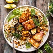 Crispy Lemon Feta with Spiced Chickpeas and Basil Orzo.