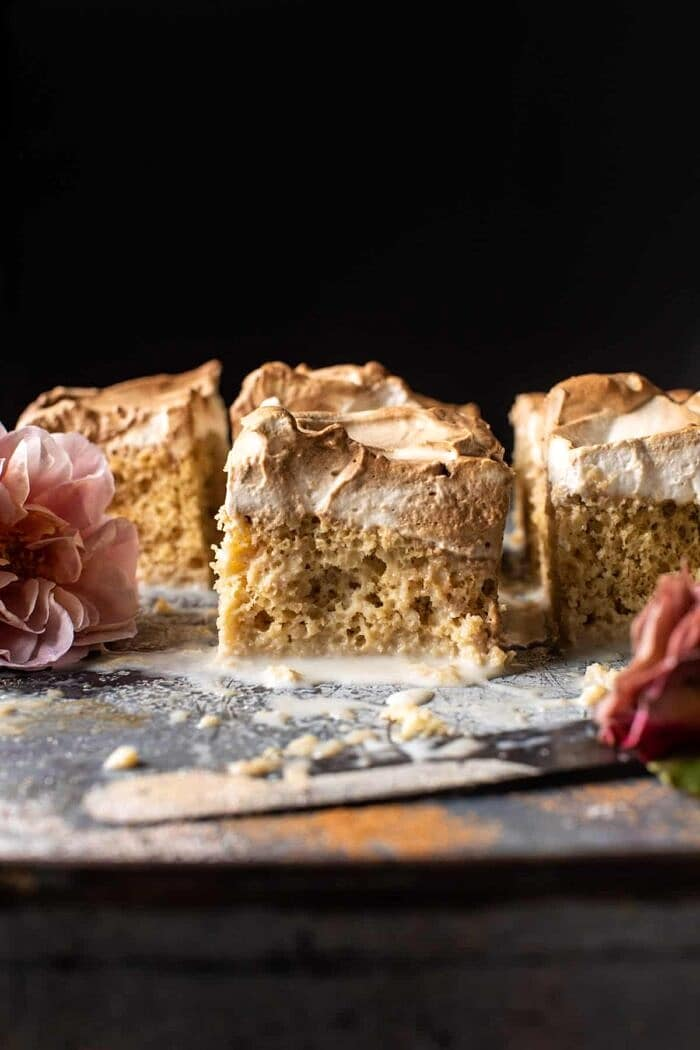 side angled photo of Dirty Horchata Tres Leches Cake square