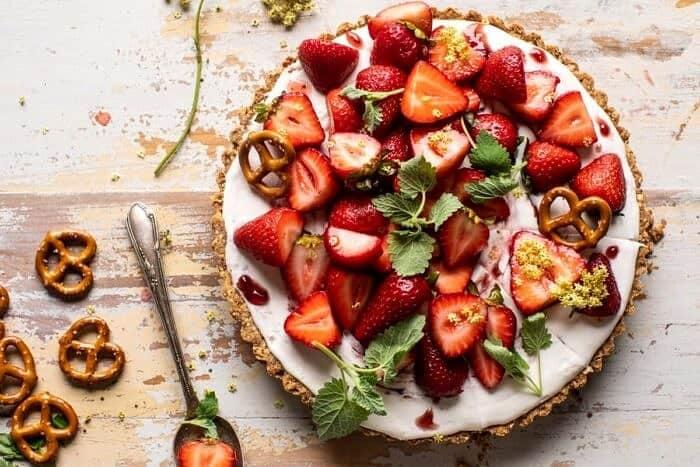 overhead horizontal photo of Double Strawberry Pretzel Pie