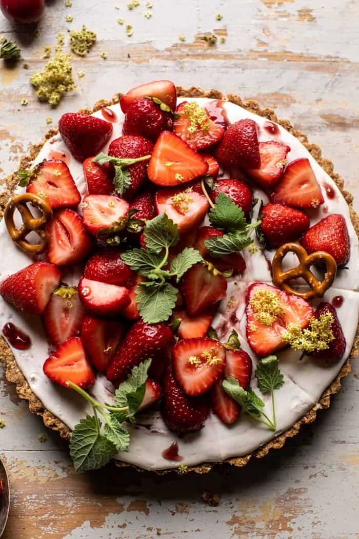 overhead close up photo of Double Strawberry Pretzel Pie
