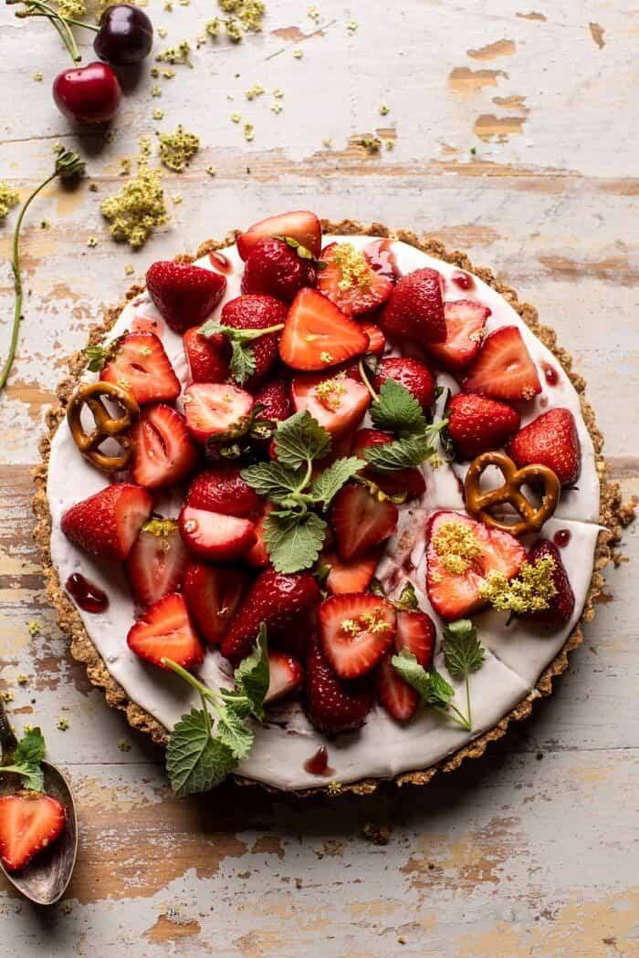 overhead photo of Double Strawberry Pretzel Pie