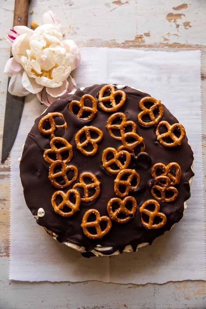 Fudgy Chocolate Peanut Butter Ice Cream Pretzel Cake | halfbakedharvest.com
