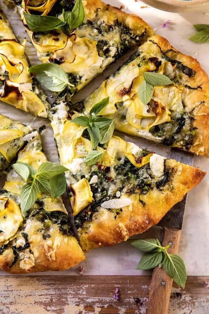 overhead close up photo of Garden Greens Goddess Pizza