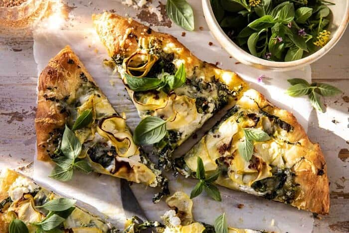 overhead horizontal photo of Garden Greens Goddess Pizza