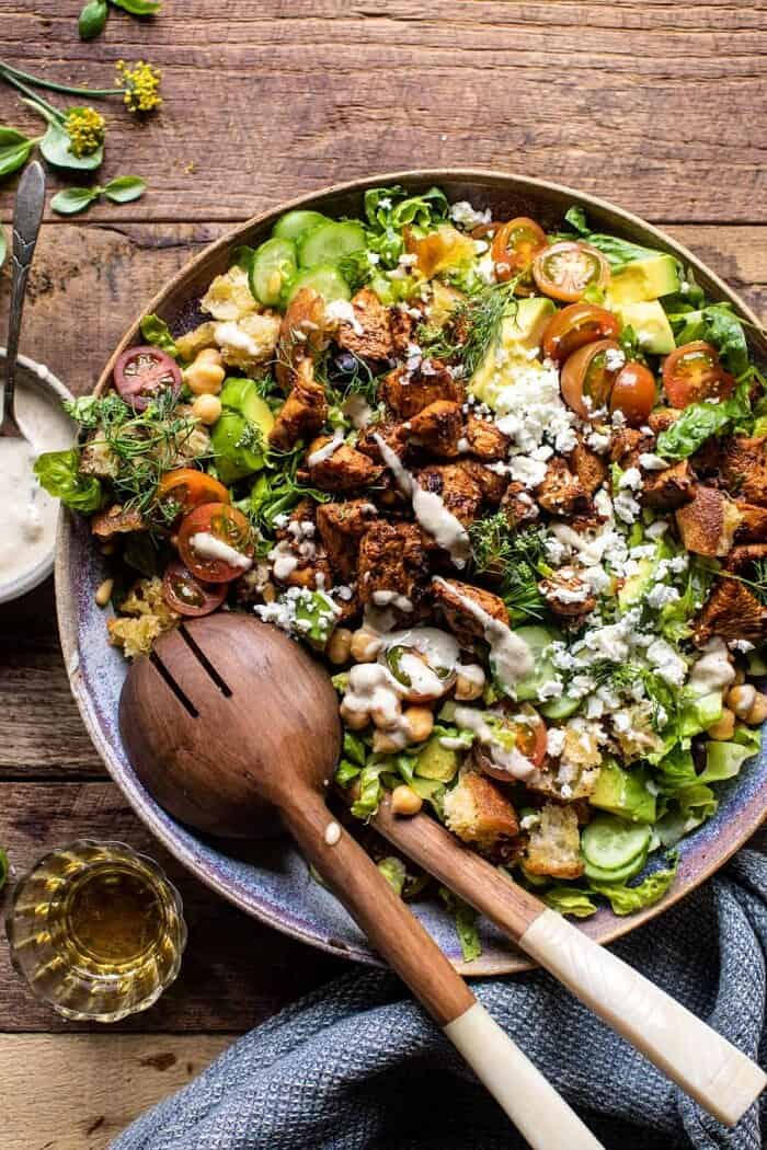 overhead photo of Greek Chicken Chopped Salad with Lemon Tahini Vinaigrette