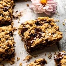 Healthier Dark Chocolate Chunk Oatmeal Cookie Bars.
