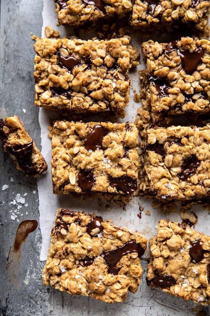 overhead photo of Healthier Dark Chocolate Chunk Oatmeal Cookie Bars