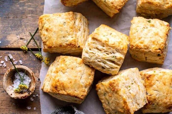 horizontal photo of Layered Jalapeño Cheddar Biscuits with Salted Honey Butter