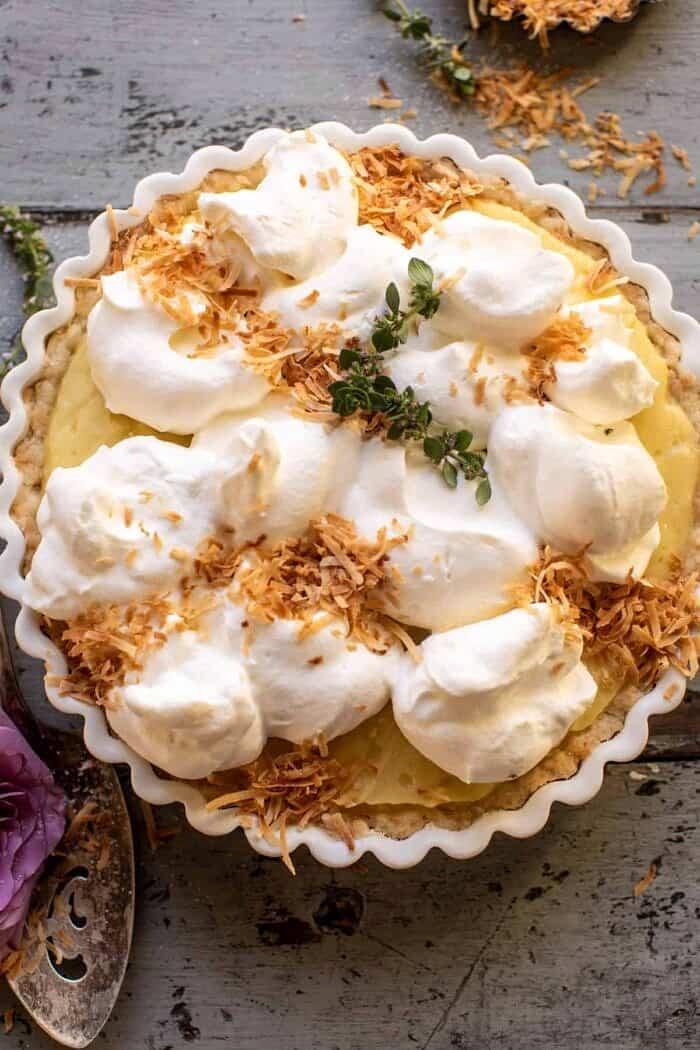 overhead close up photo of Lemon Sugar Coconut Cream Pie