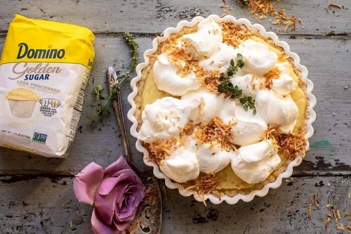 overhead horizontal photo of Lemon Sugar Coconut Cream Pie