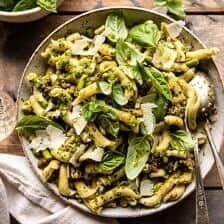 One Pot Lemon Basil, Asparagus, and Sausage Pasta.