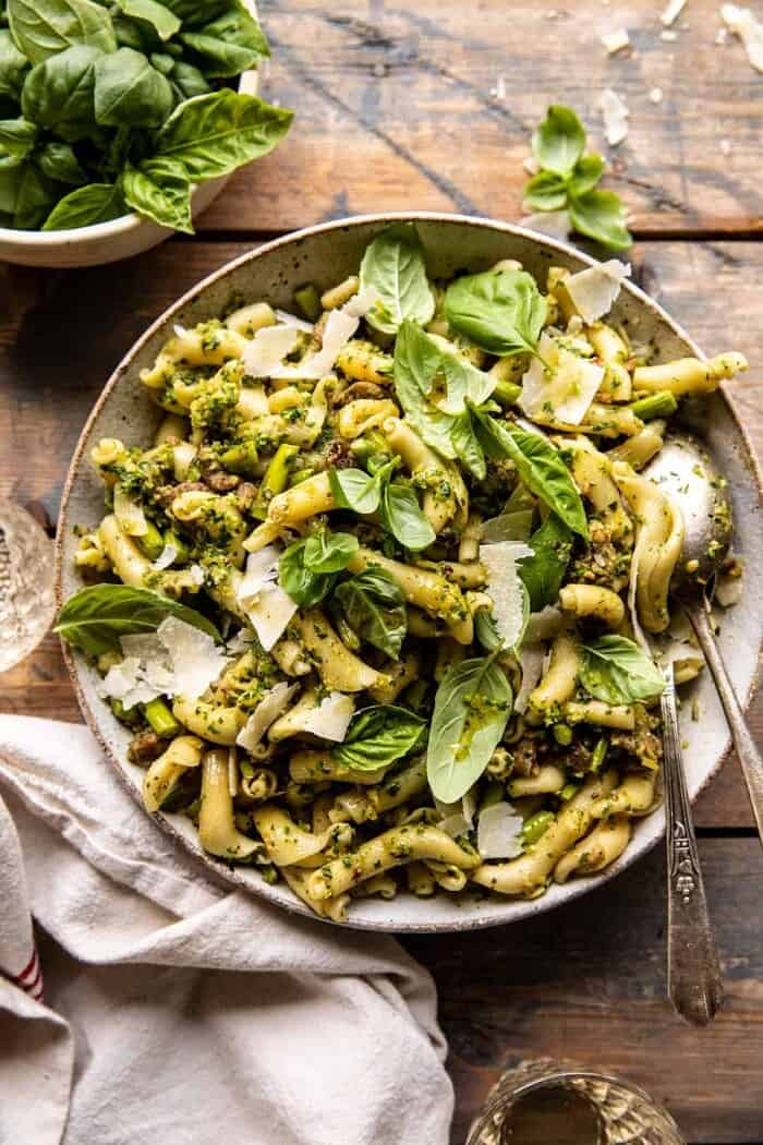 One Pot Lemon Basil, Asparagus, and Sausage Pasta | halfbakedharvest.com