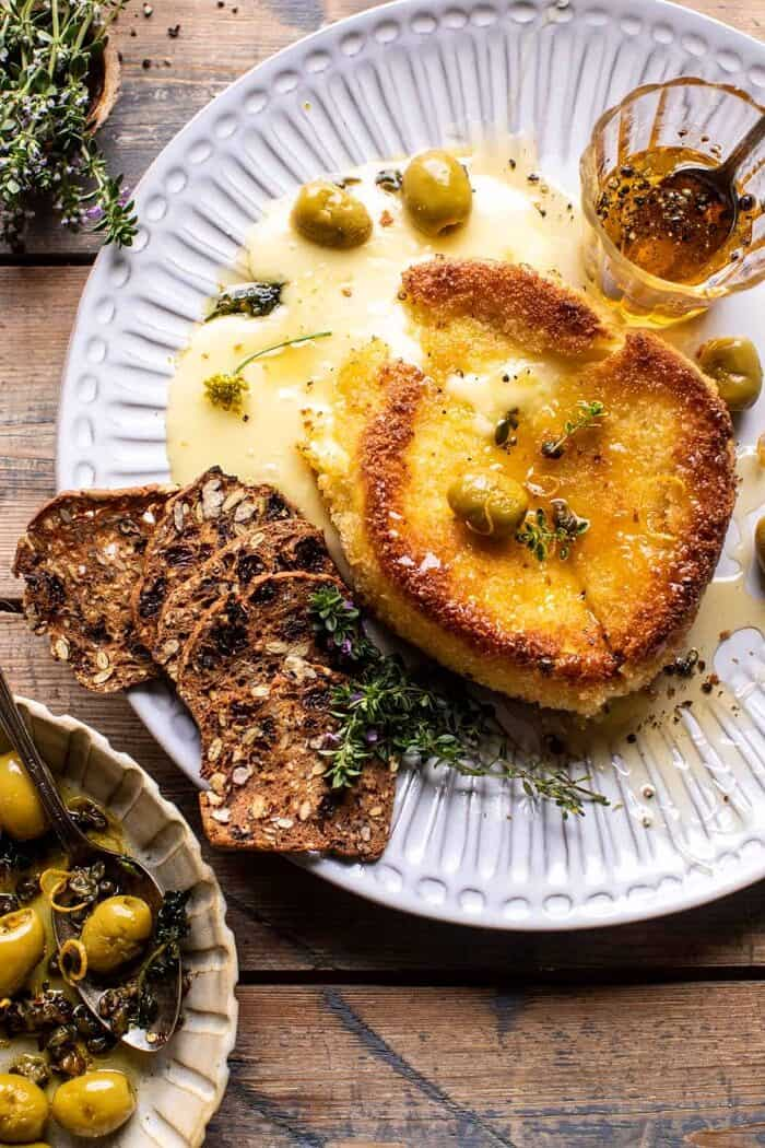 overhead photo of Pan Fried Brie with Peppered Honey and Olives