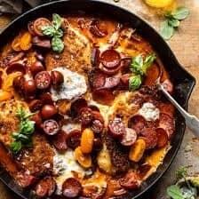 Skillet Cheesy Pepperoni Pizza Chicken | halfbakedharvest.com
