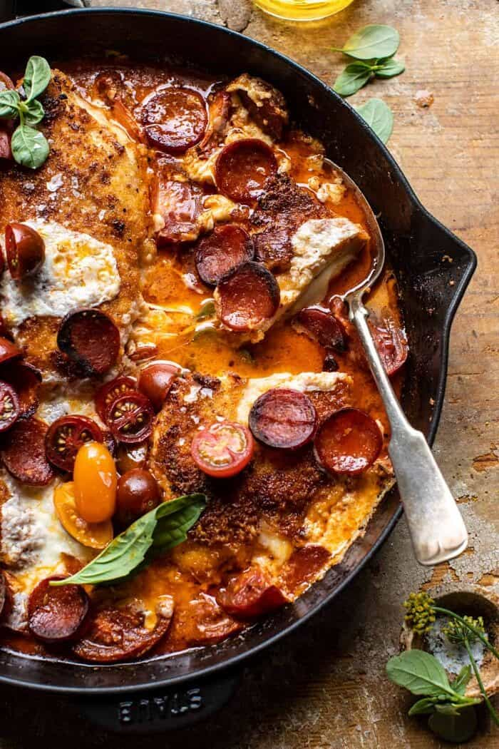 overhead close up photo of Skillet Cheesy Pepperoni Pizza Chicken