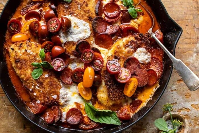 overhead horizontal photo of Skillet Cheesy Pepperoni Pizza Chicken