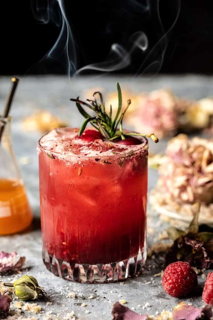 The Hermione Granger Cocktail with smoking rosemary sprig