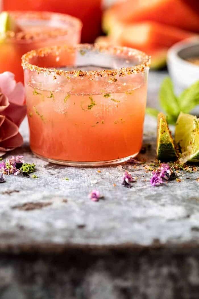 side angle close up photo of Watermelon Rosè Paloma
