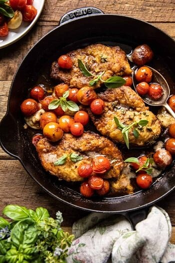 20 Minute Florentine Butter Chicken with Burst Cherry Tomatoes.