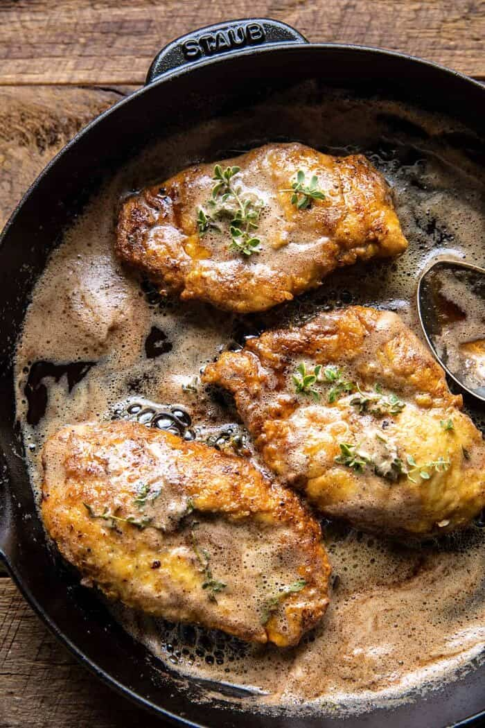 overhead photo of 20 Minute Florentine Butter Chicken in skillet without tomatoes