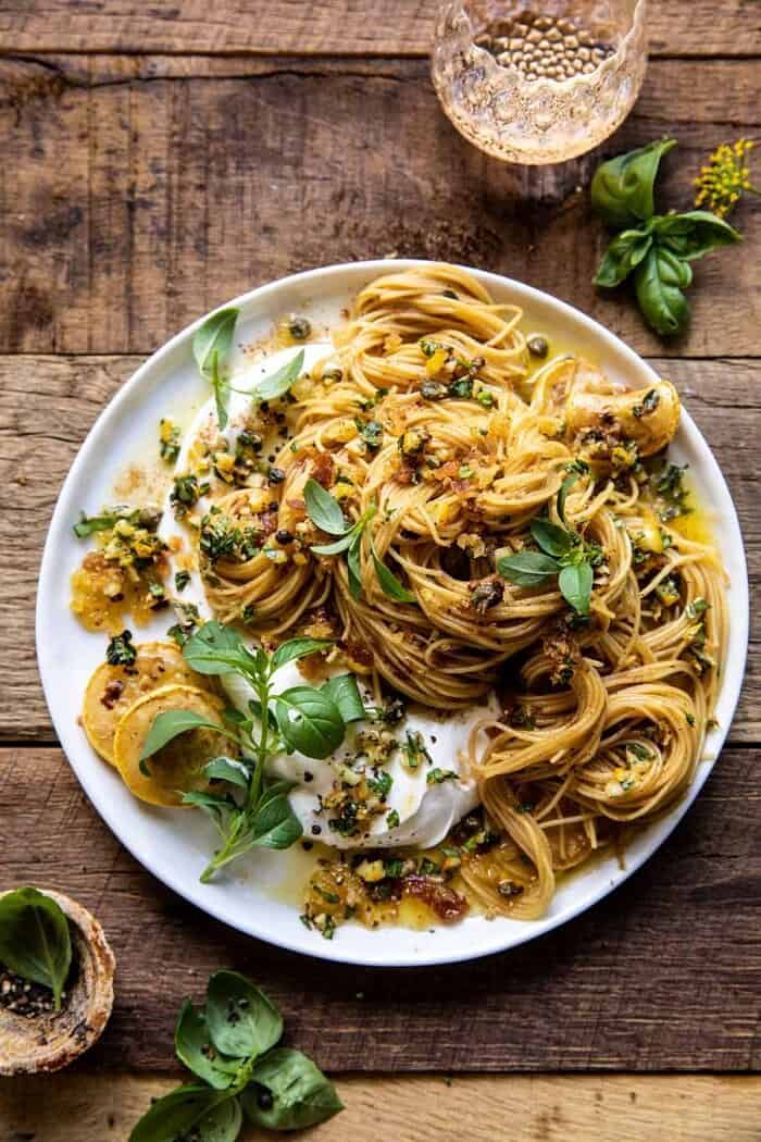 overhead photo of 20 Minute Lemon Butter Pasta with Ricotta and Spicy Breadcrumbs