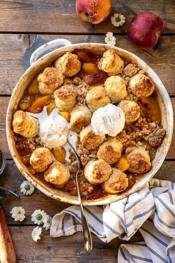 Southern Double Crusted Cinnamon Sugar Peach Cobbler.