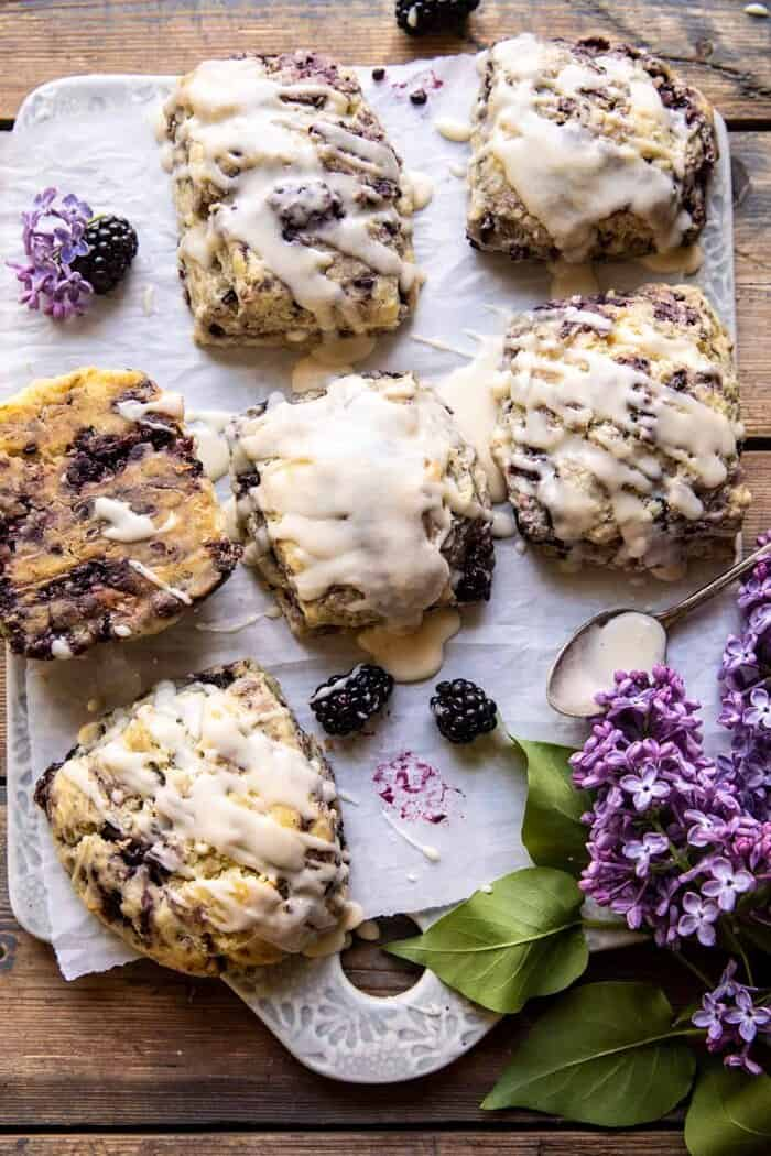 Blackberry Lavender White Chocolate Scones | halfbakedharvest.com