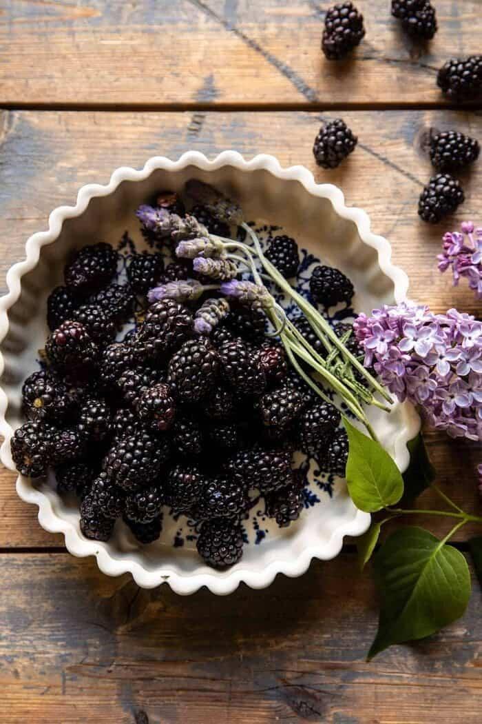 overhead photo of raw Blackberries