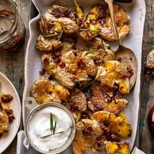 Crispy Smashed Potatoes with Bacon Vinaigrette.