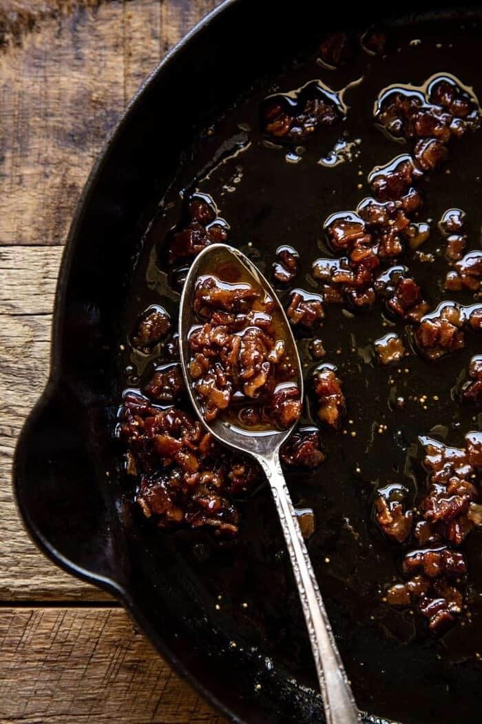 overhead photo of Bacon Vinaigrette in skillet