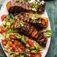 Greek Salmon with Lemon Feta and Orzo Summer Salad.