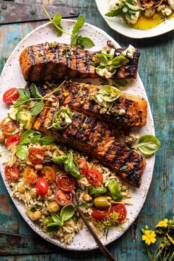 overhead photo of Greek Salmon with Lemon Feta and Orzo Summer Salad