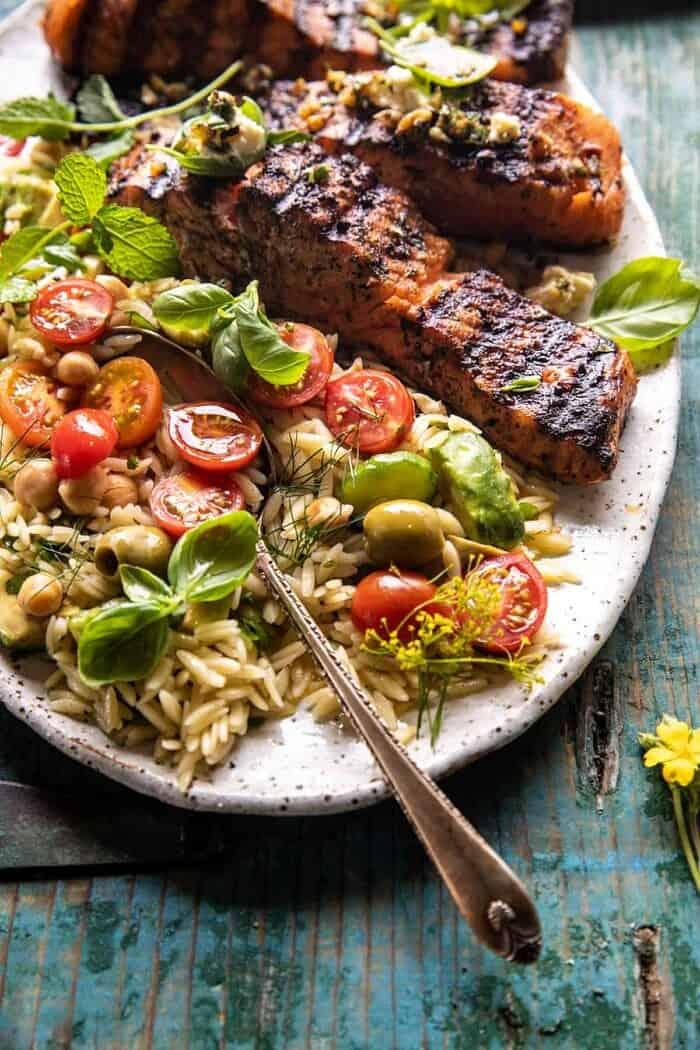 side angle photo of Greek Salmon with Lemon Feta and Orzo Summer Salad